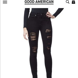 GOOD AMERICAN BLACK RIPPED JEANS